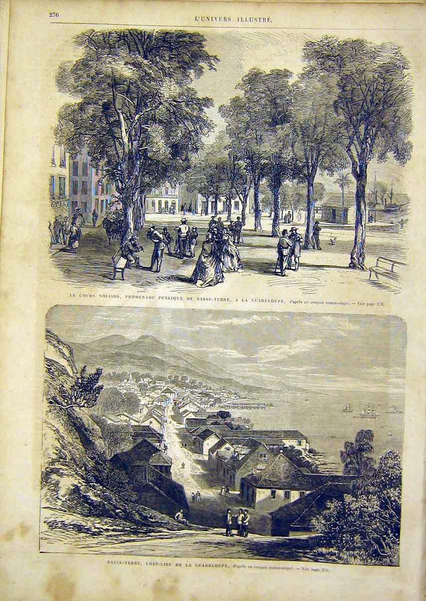 Print Guadeloupe Park Basse-Terre Harbour French 1866 76Lun0 Old Original