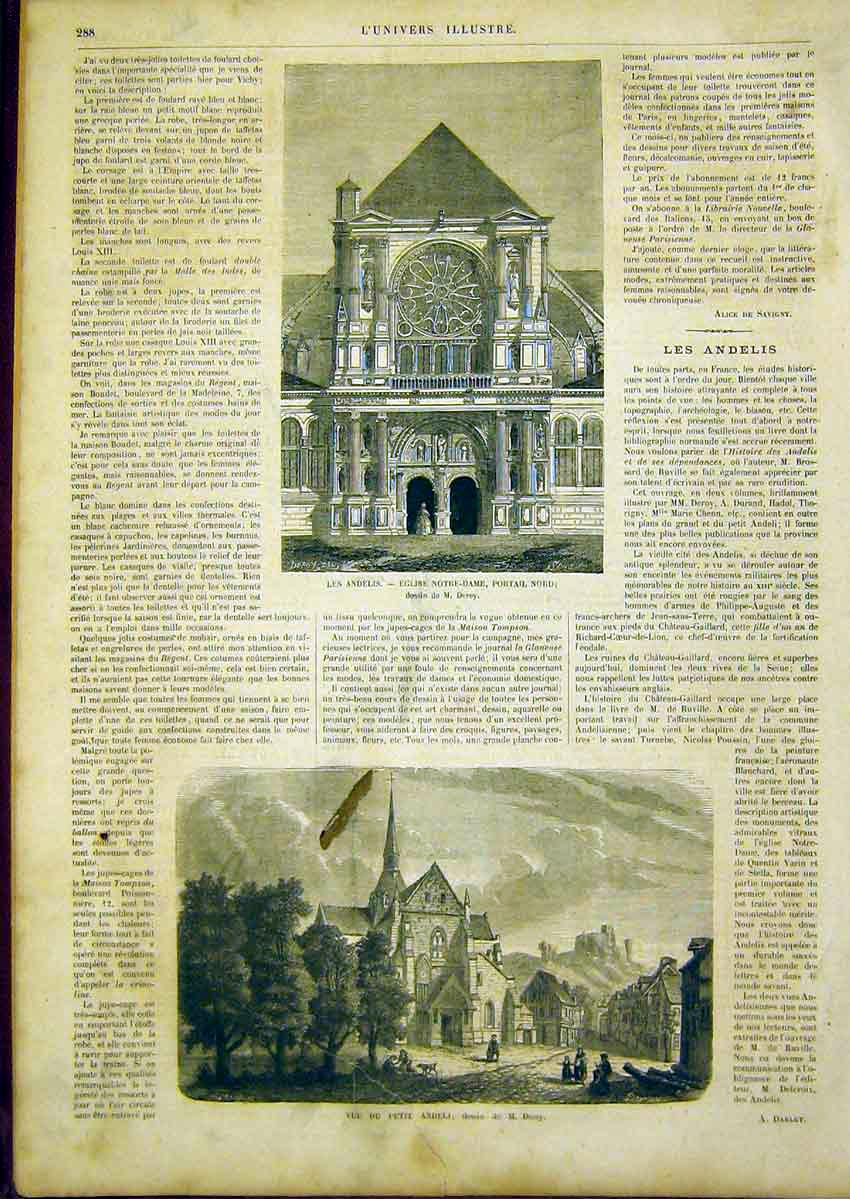 Print Notre Dame Paris Andeli Deroy French 1866 88Lun0 Old Original