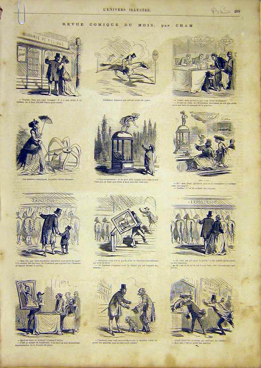 Print French 1866 Comic Review Sketches Cham Mois 93Alun0 Old Original