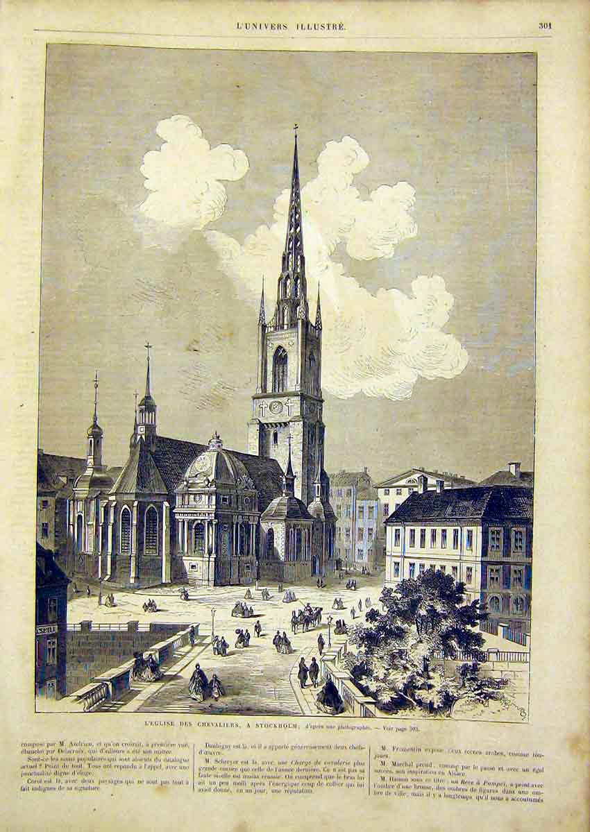 Print Church Chevaliers Stockholm French 1866 01Lun0 Old Original