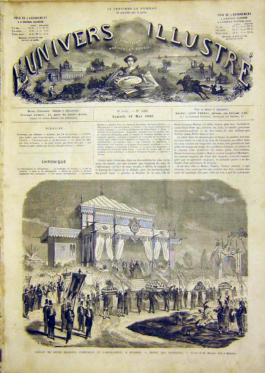 Print Emperor Empress Ceremony Vignerons French 1866 14Lun0 Old Original