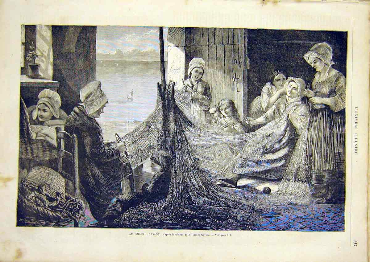Print Smythe Fish-Nets Lady Fine Art French 1866 17Lun0 Old Original