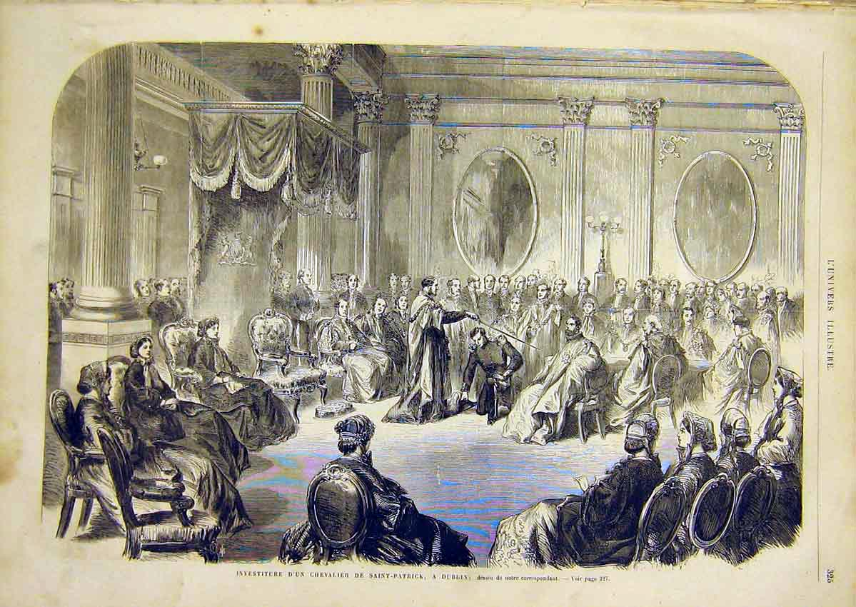 Print Knighthood St Patrick Dublin Ireland French 1866 25Lun0 Old Original