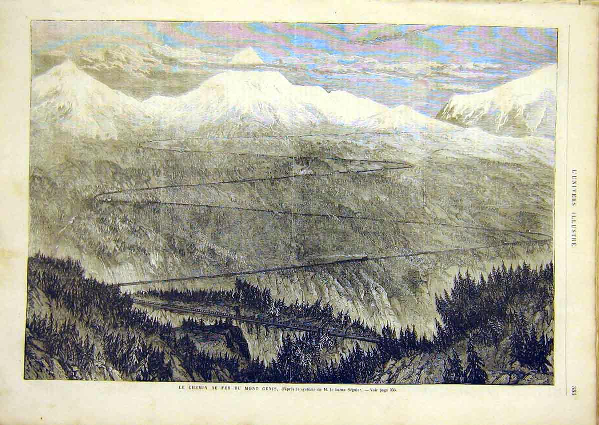 Print Railway Mount Cenis Seguier Forest French 1866 33Lun0 Old Original