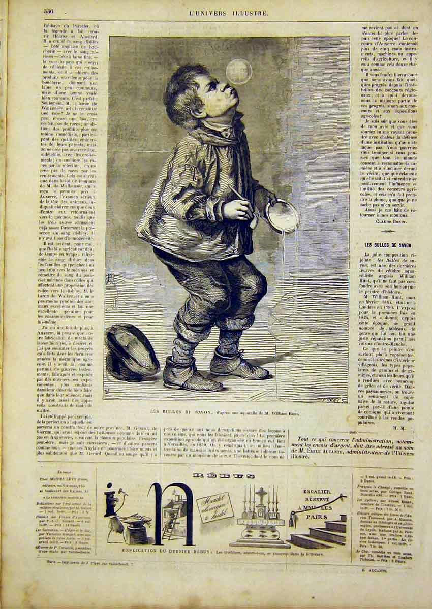 Print Soap-Bubbles Boy Hunt Portrait French 1866 36Lun0 Old Original