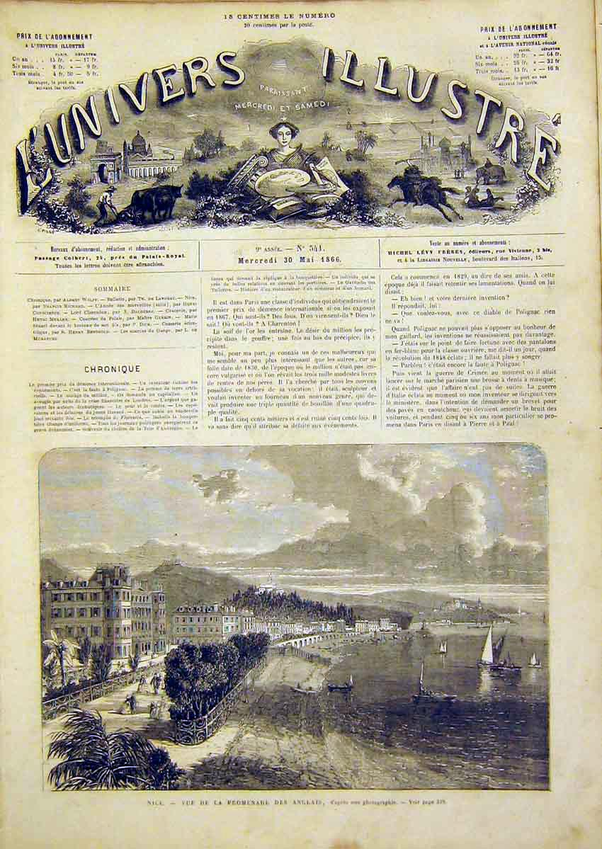 Print Nice View English Promenade French 1866 38Lun0 Old Original