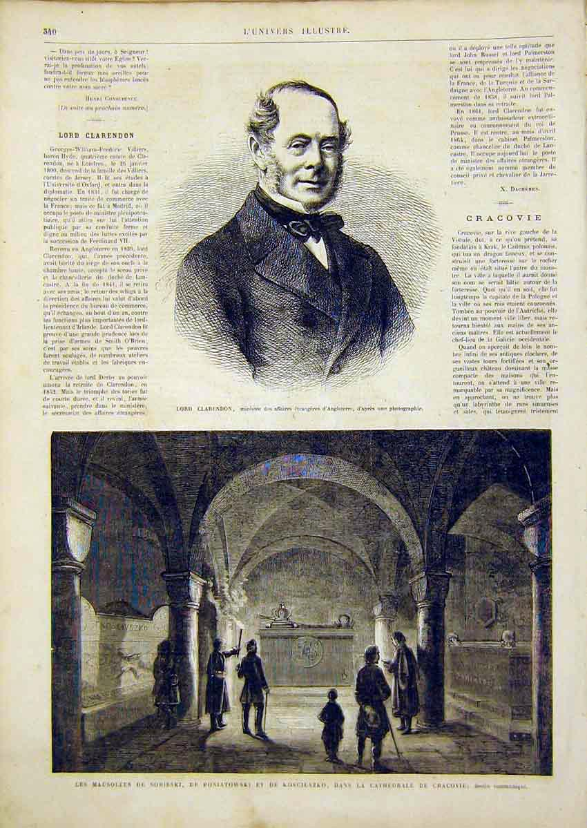 Print Portrait Clarendon Mausoleum Sobieski French 1866 40Lun0 Old Original