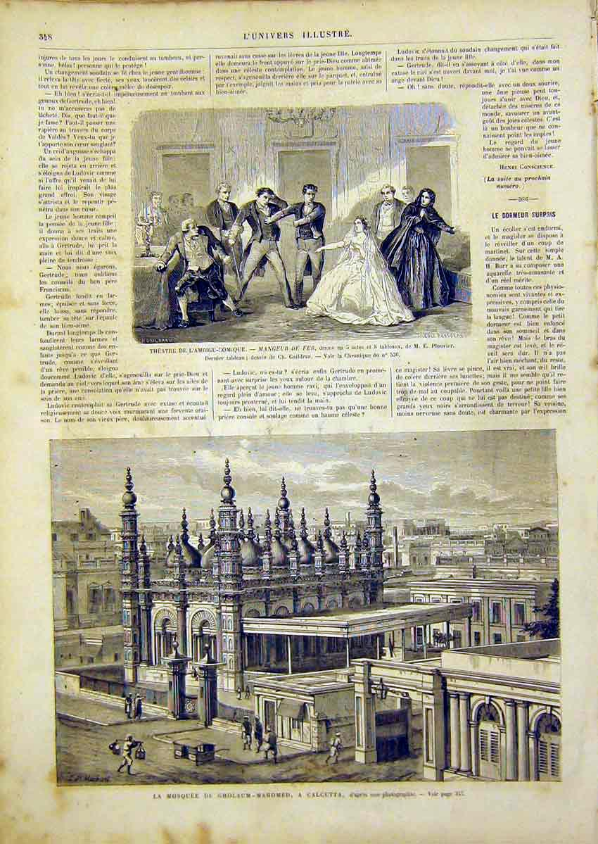 Print Mosque Calcutta Theatre Comedy French 1866 48Lun0 Old Original
