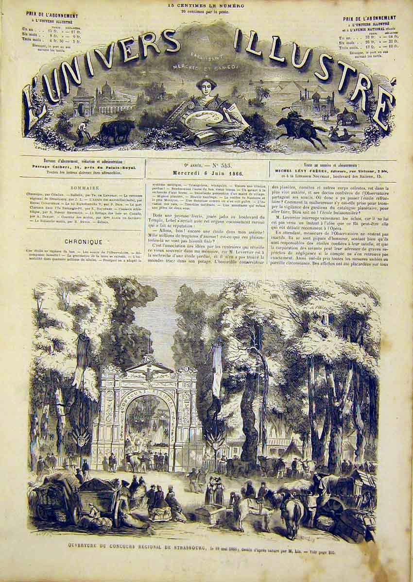 Print Strasbourg Concours Regional French 1866 54Lun0 Old Original