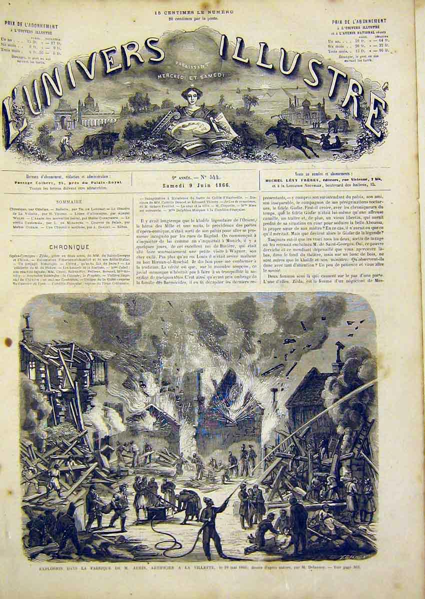 Print Aubin Factory Fire Explosion French 1866 62Lun0 Old Original