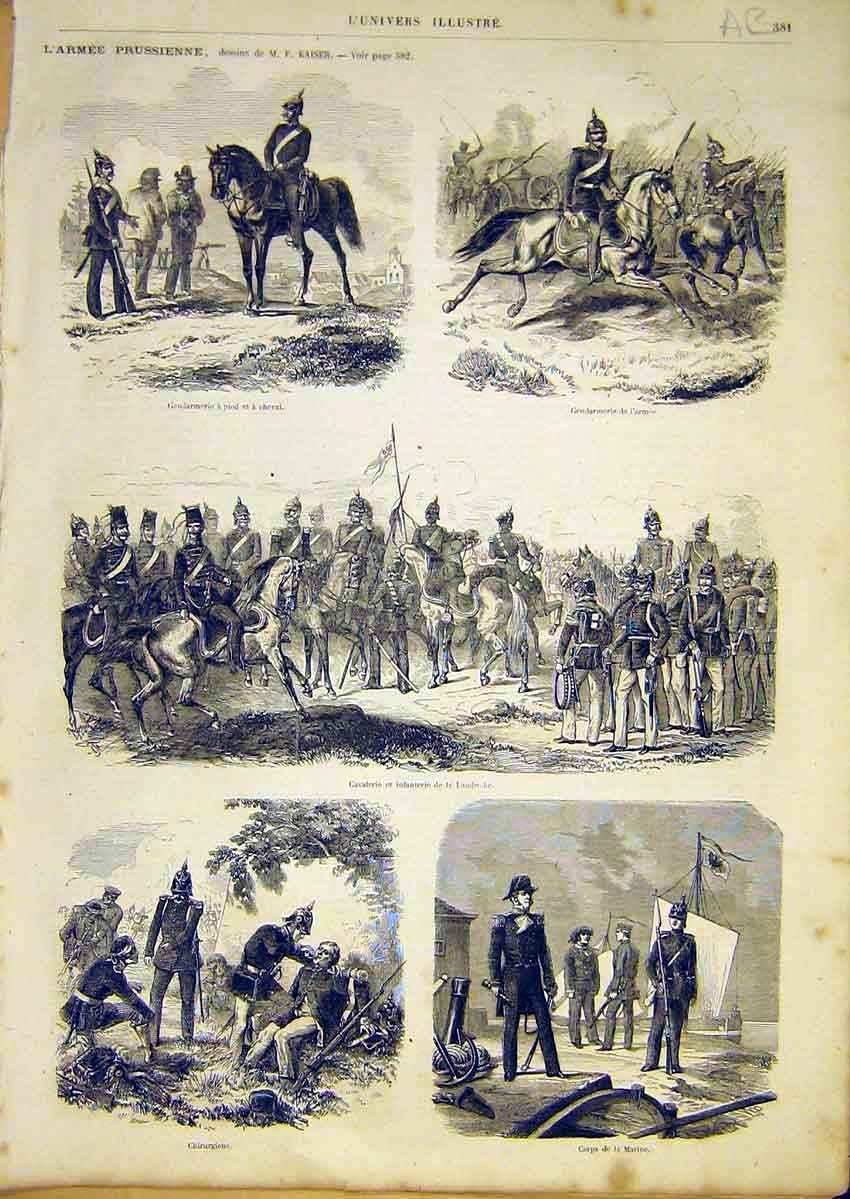 Print Prussian Army Military Infantry Cavalry 1866 81Alun0 Old Original