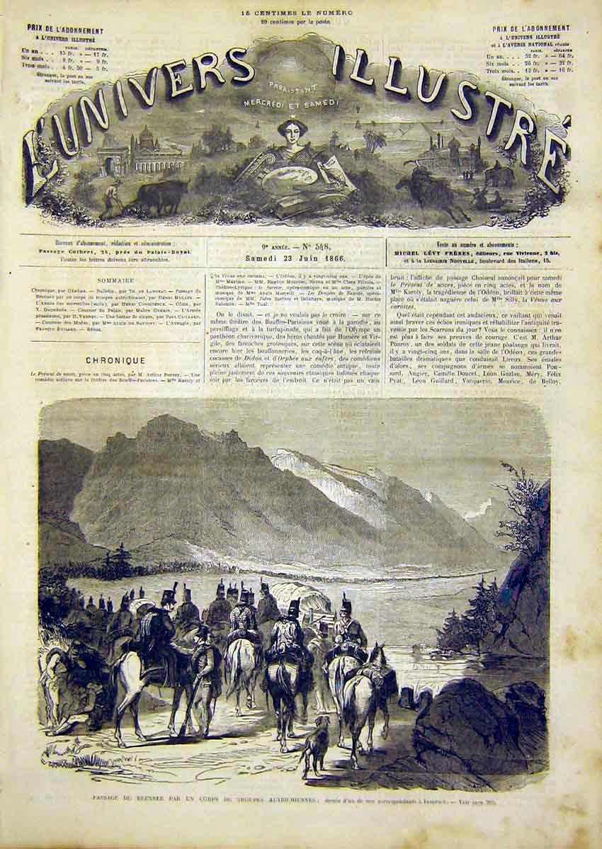 Print Brenner Austrian Troops Inspruck French 1866 94Lun0 Old Original