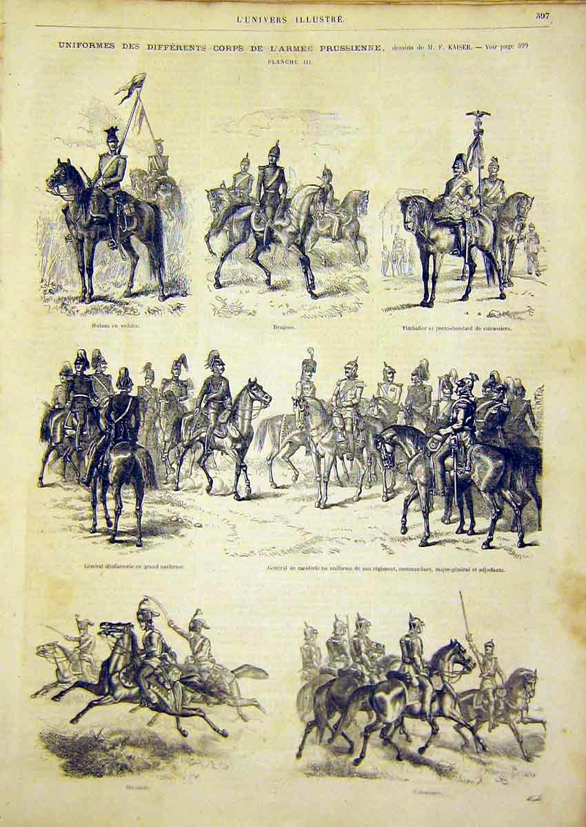 Print Uniform Military Prussian Army French 1866 97Lun0 Old Original