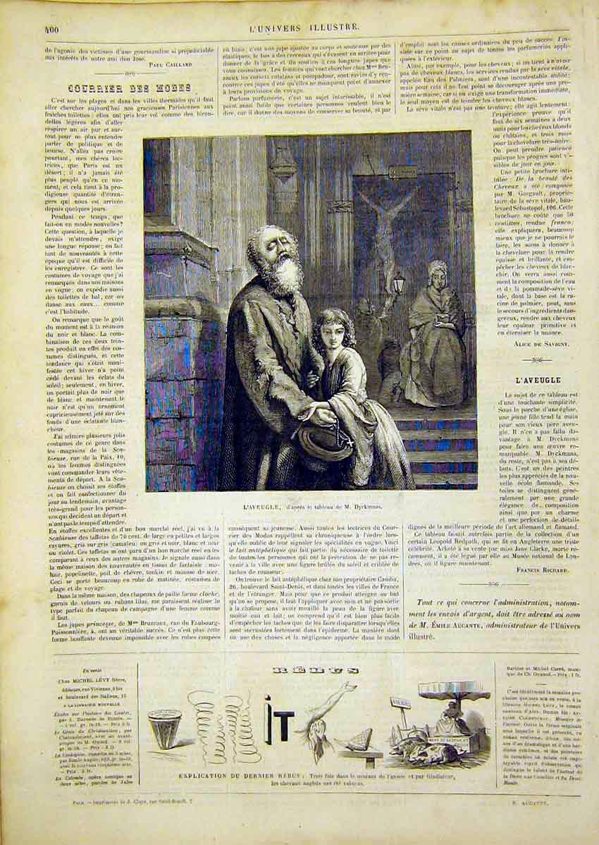 Print Dyckmans L'Aveugle Prayer Religious French 1866 00Lun0 Old Original