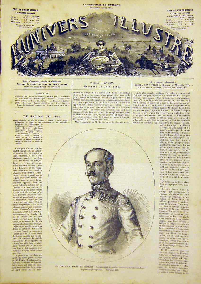 Print Portrait Benedek Austrian French 1866 Military 02Lun0 Old Original