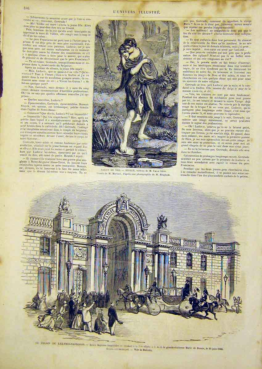 Print Levy Fine Art French 1866 Palace Elysee-Napoleon 04Lun0 Old Original