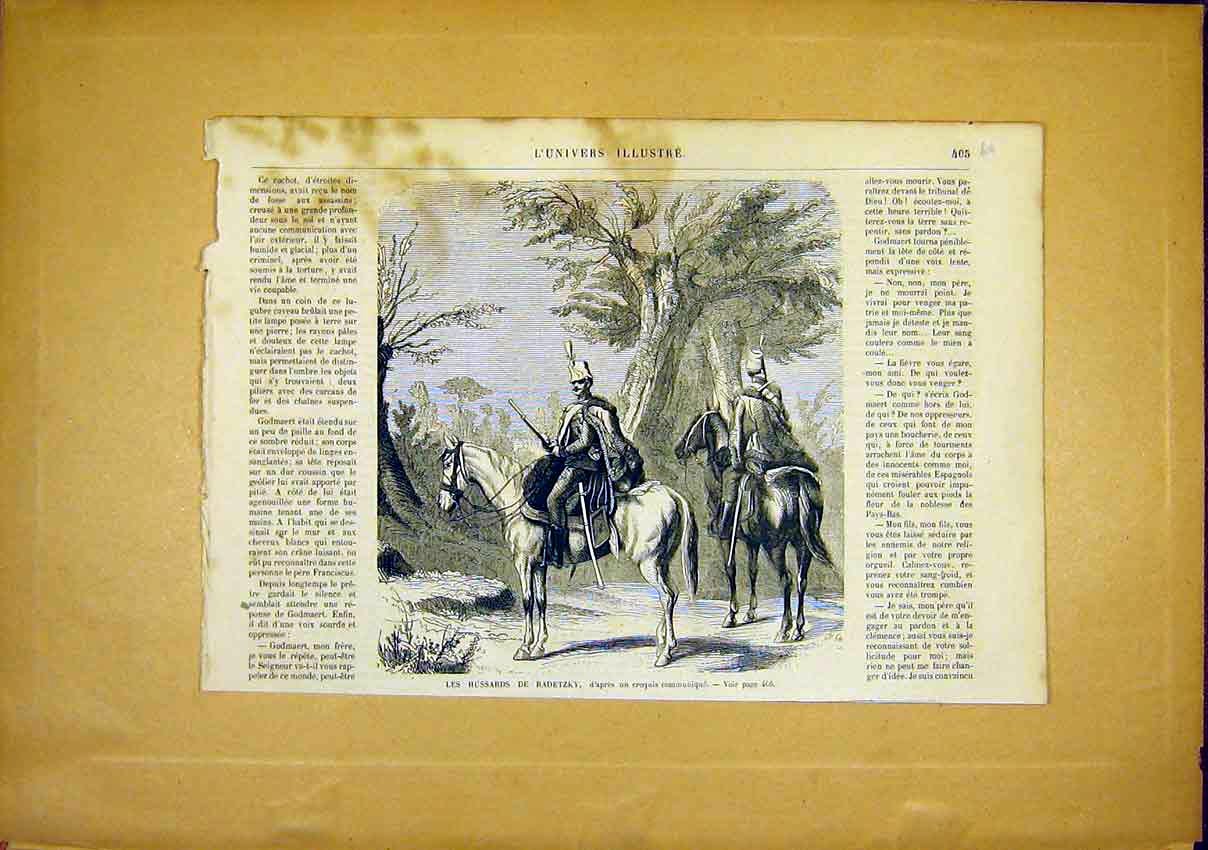 Print Hussards Radetzky Military French 1866 05Ulun0 Old Original