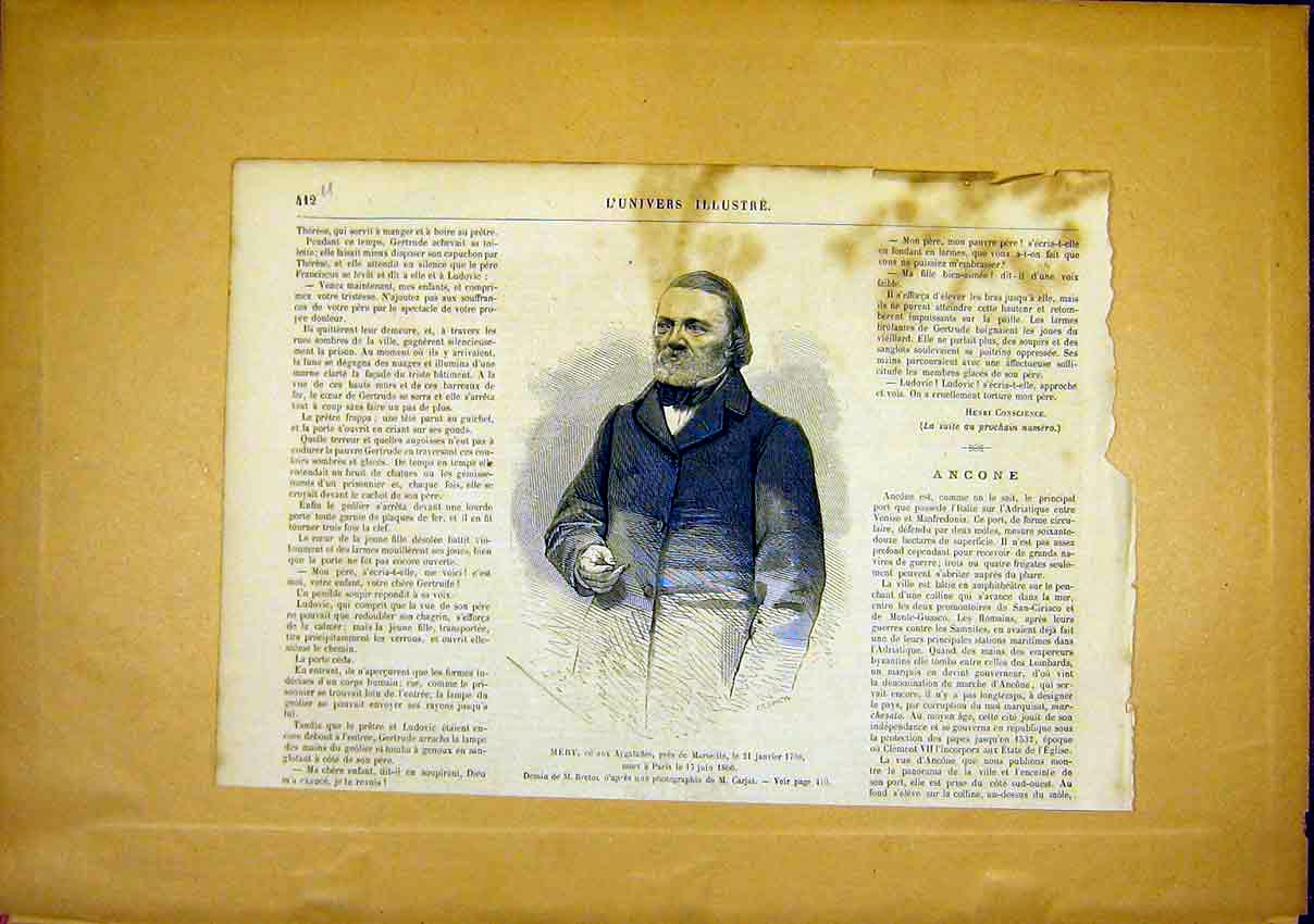 Print Portrait Mery Aygalades Marseille French 1866 12Ulun0 Old Original