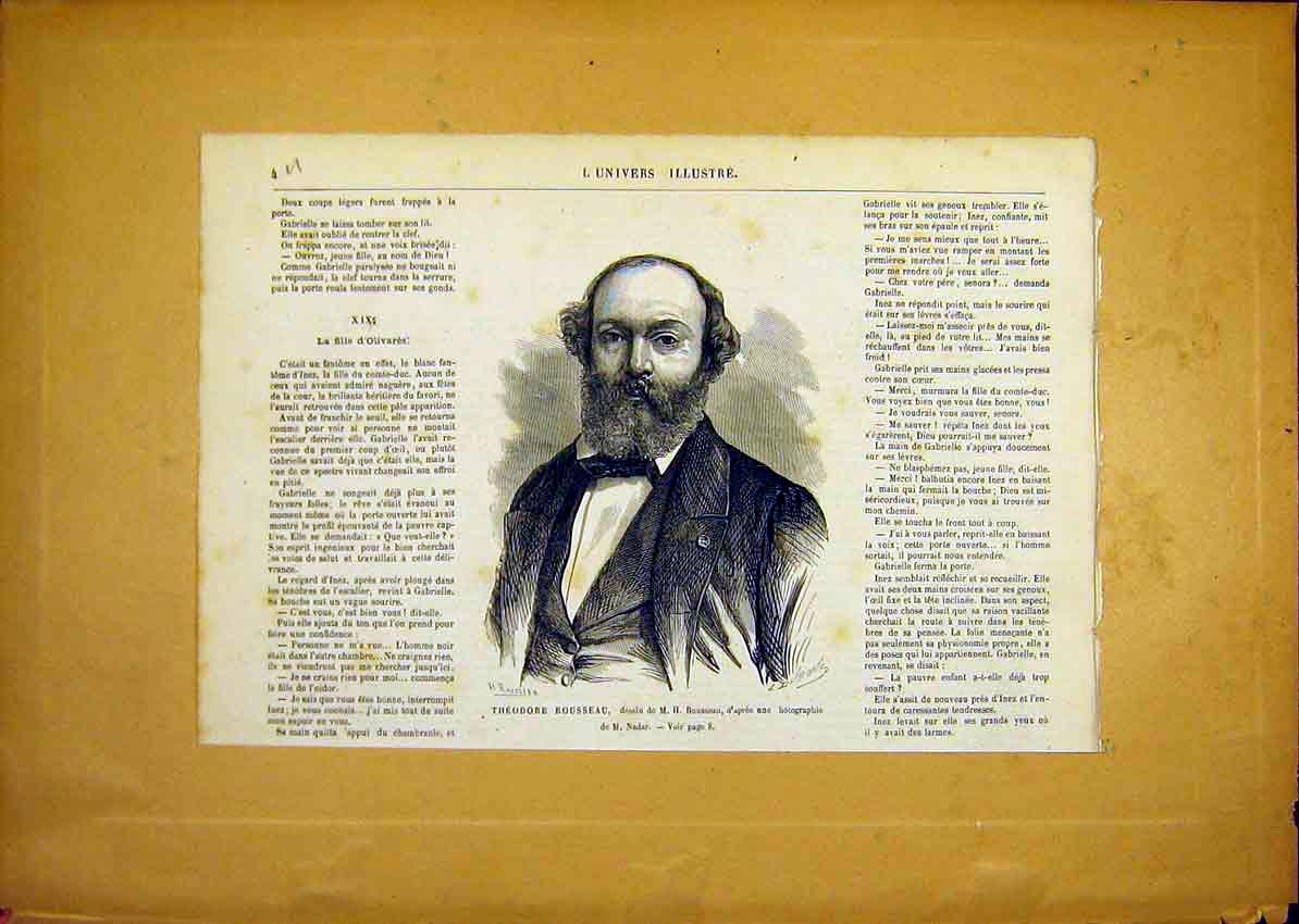 Print Portrait Theodore Rousseau French 1868 04Ulun0 Old Original
