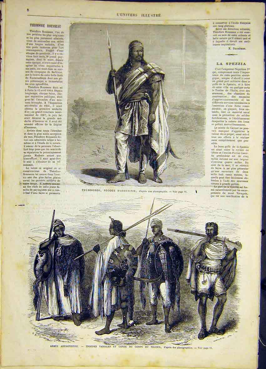 Print Abyssinia Army Theodoros Troops French 1868 08Lun0 Old Original
