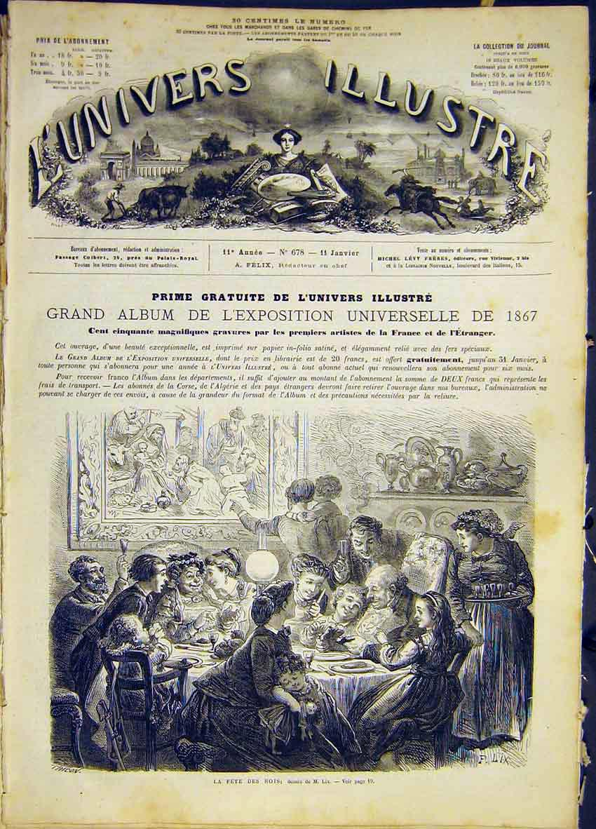 Print King Fete Lix French 1868 18Lun0 Old Original