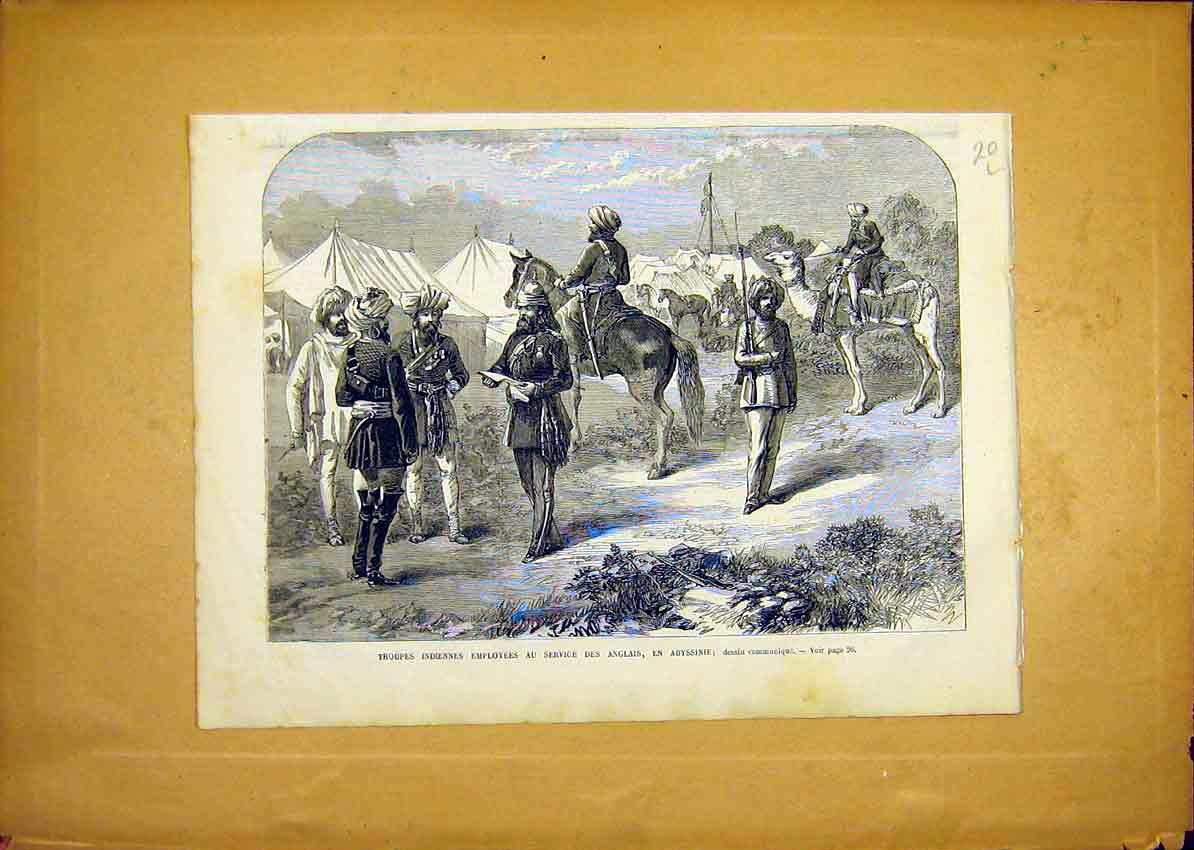 Print Indian Troops Abyssinia Soldiers French 1868 20Llun0 Old Original