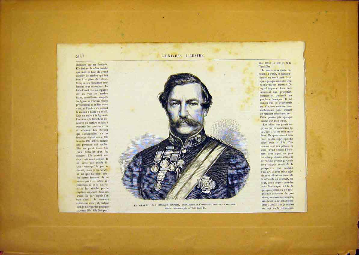 Print Portrait General Robert Napier French 1868 20Ulun0 Old Original