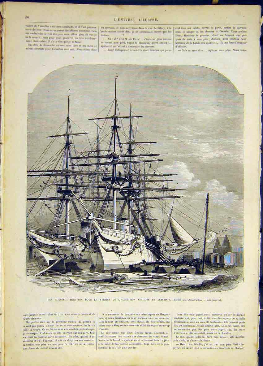 [Print Ship Hospital Abyssinia Expedition French 1868 36Lun0 Old Original]