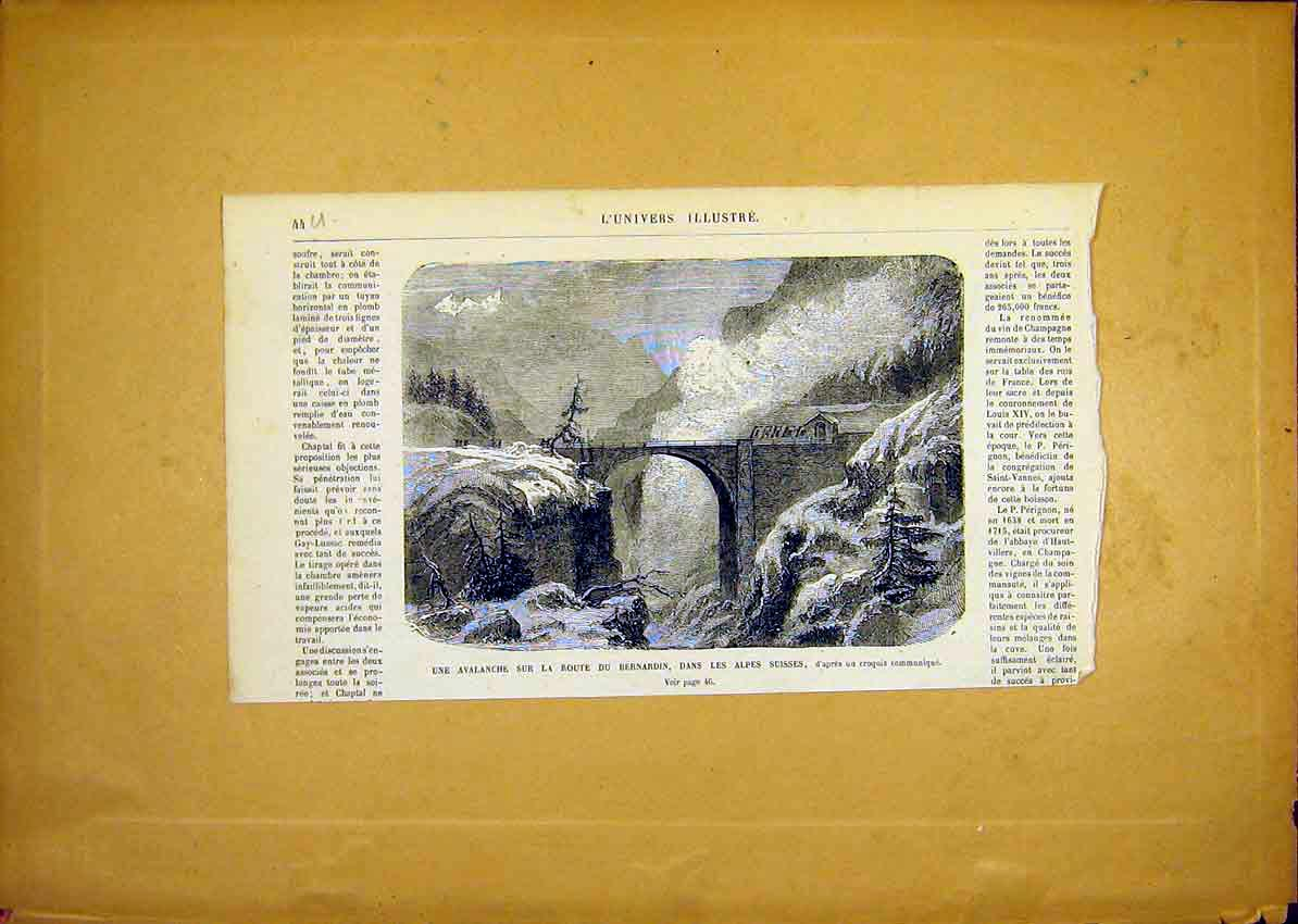 Print Avalanche Bernadin Swiss Alpes French 1868 44Ulun0 Old Original