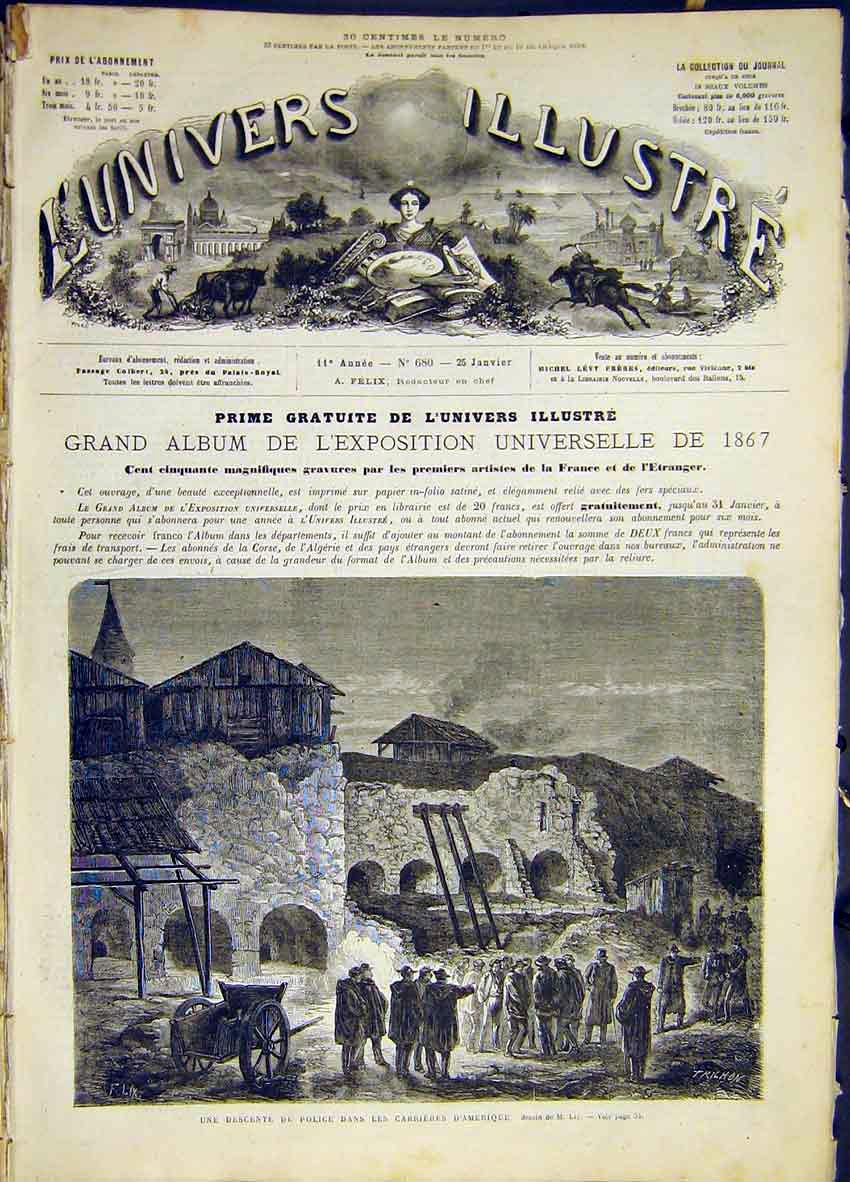 Print Police American French 1868 50Lun0 Old Original