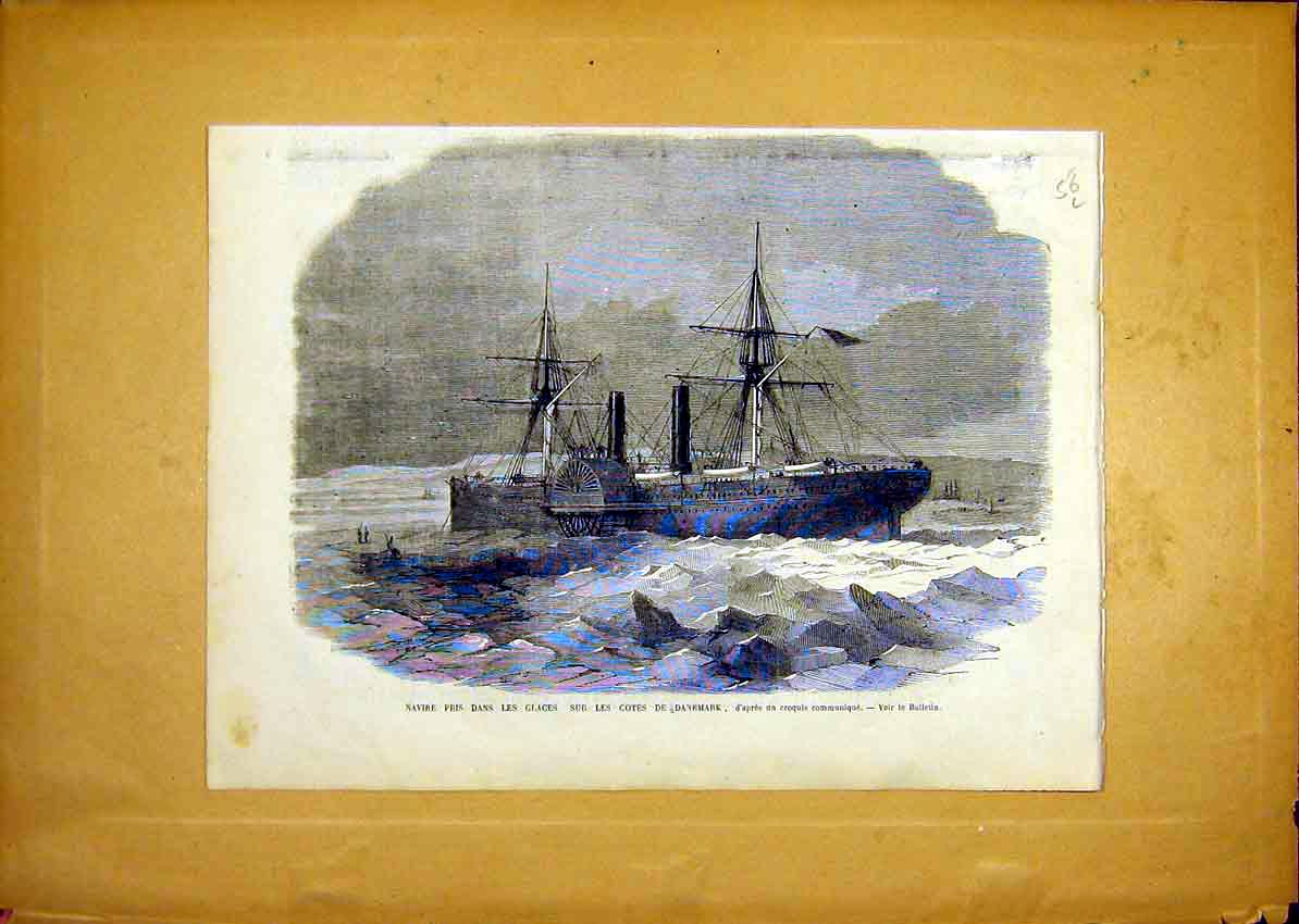 Print Navy Ice Denmark Coast Ship French 1868 56Llun0 Old Original
