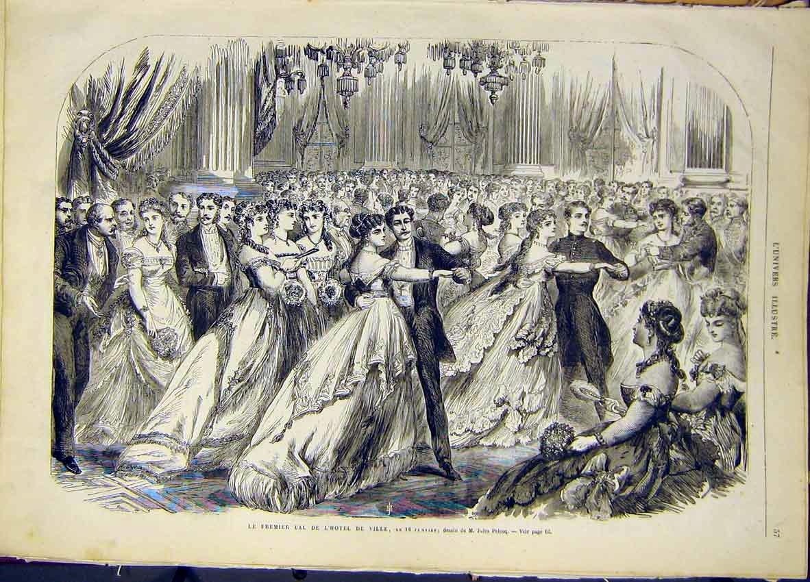 Print Premier Ball Hotel Ville Pelcoq French 1868 57Lun0 Old Original