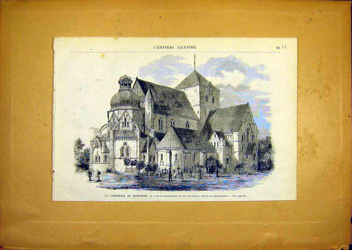 Print Cathedral Drontheim Building French 1868 61Ulun0 Old Original