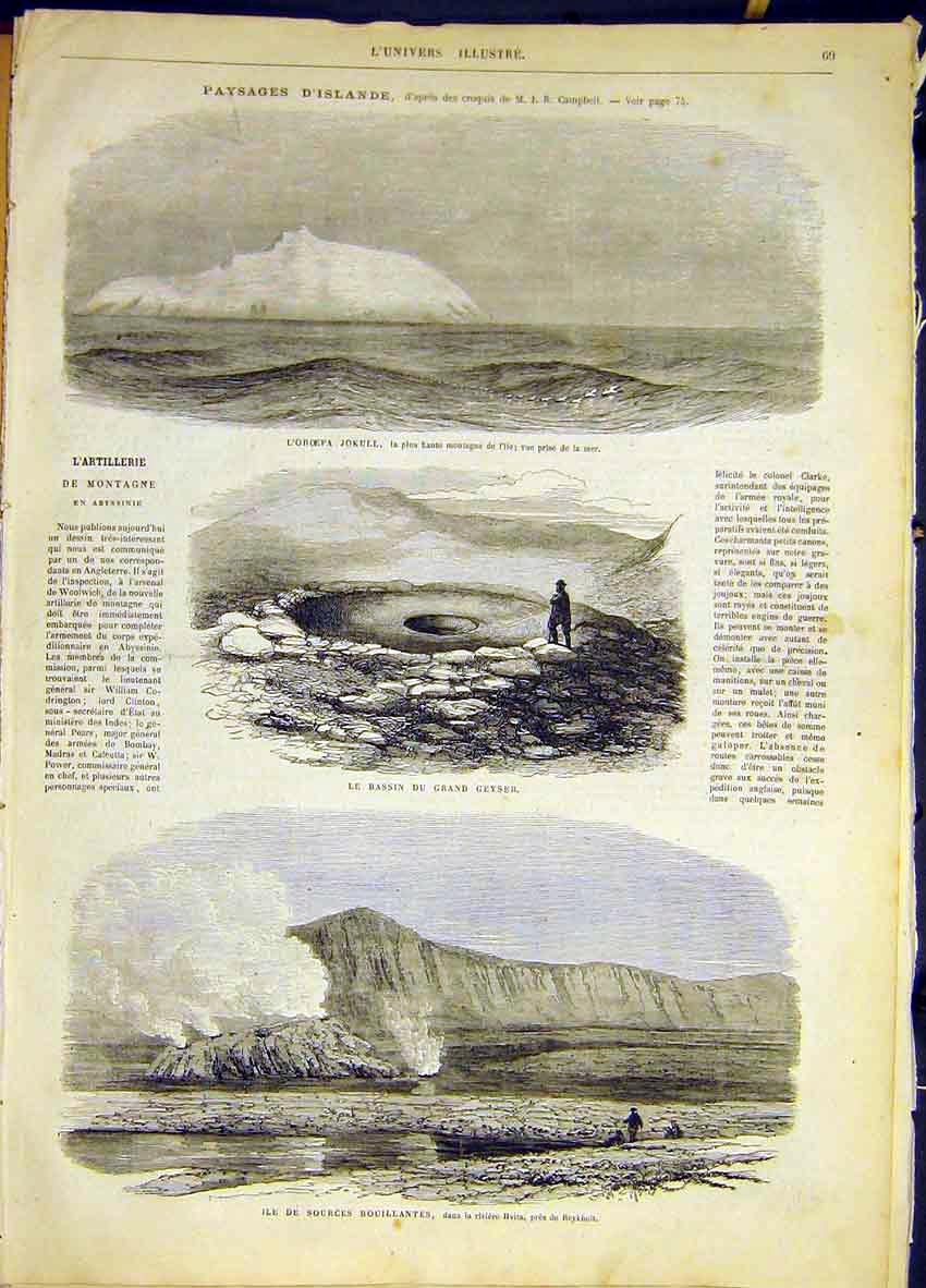 Print Jokull Geyser Hvita Islands French 1868 69Lun0 Old Original