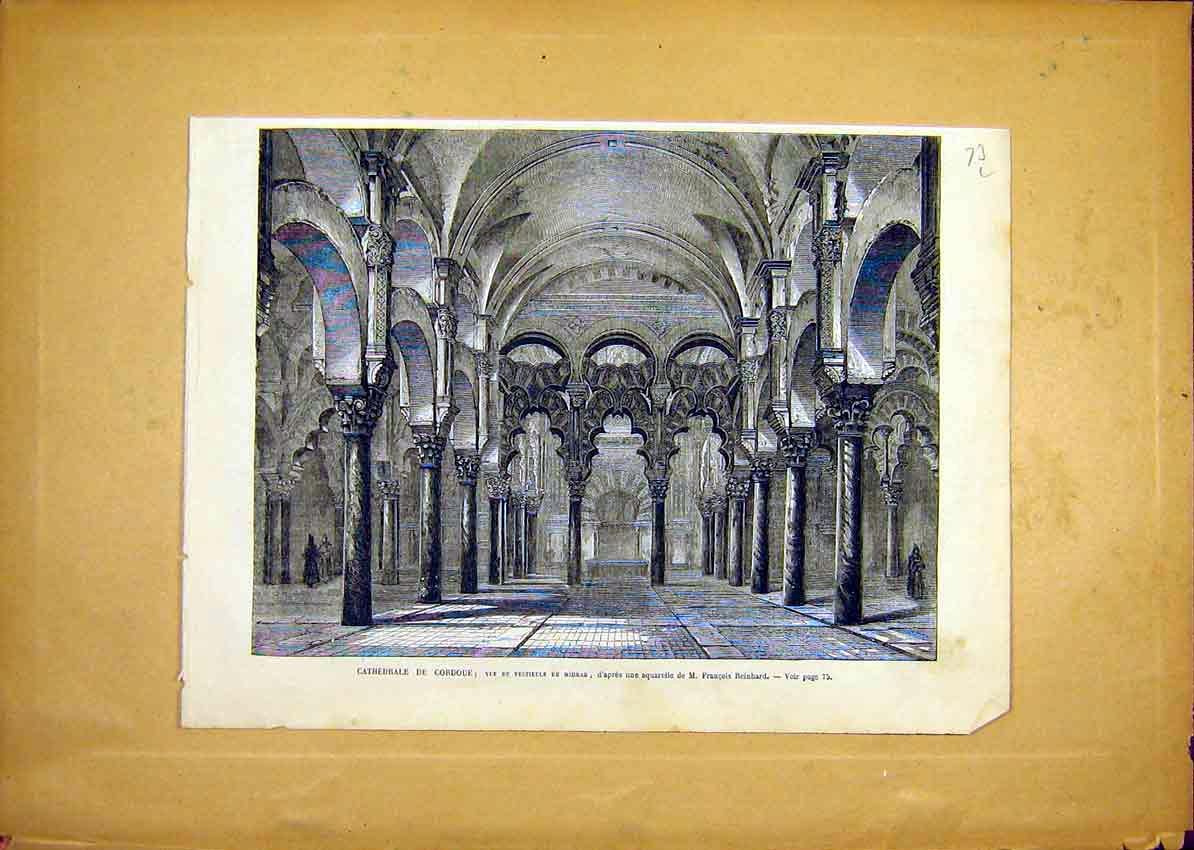 Print Cathedral Cordoue Mihrab Reinhard French 1868 73Llun0 Old Original