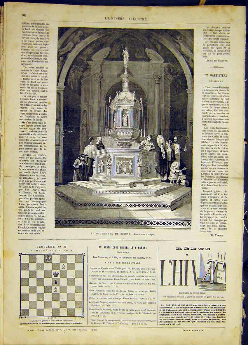 Print Baptism Sienne Cathedral Font French 1868 96Lun0 Old Original