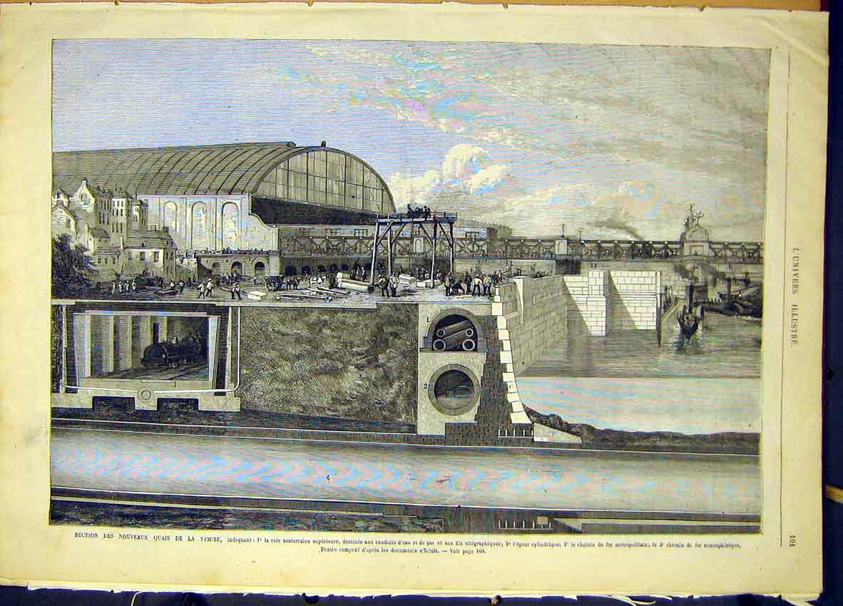 Print Quay Tamise Railway Tunnel French 1868 01Lun0 Old Original