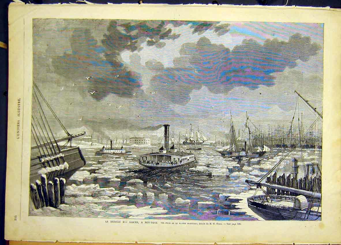 Print Icebergs New York America Ships River French 1868 04Lun0 Old Original