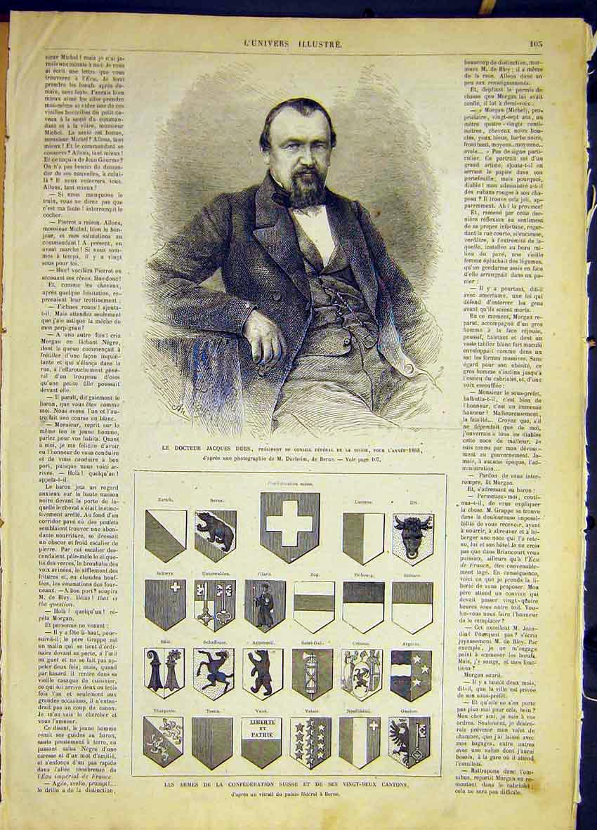 Print Portrait Doctor Dubs Swiss Confederation Flags 1868 05Lun0 Old Original