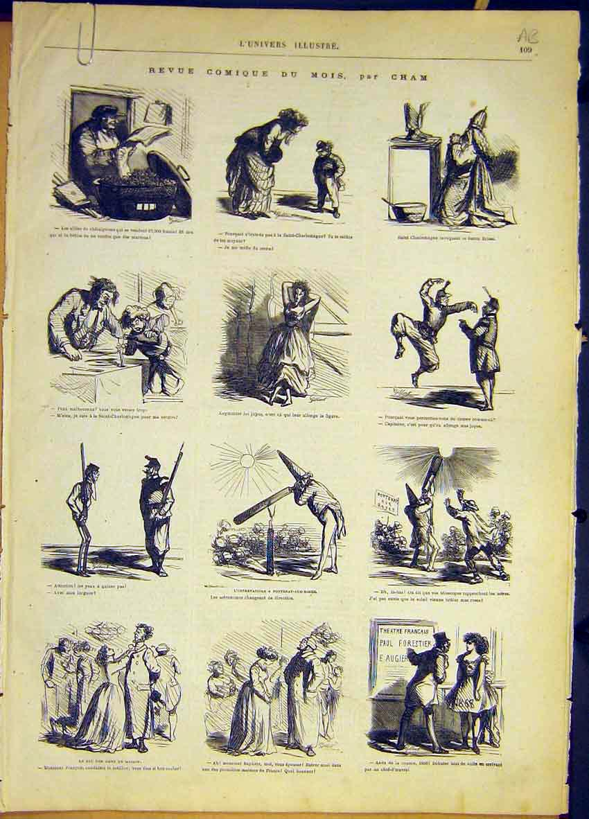 Print Comic Sham Sketches Charlemagne French 1868 09Alun0 Old Original