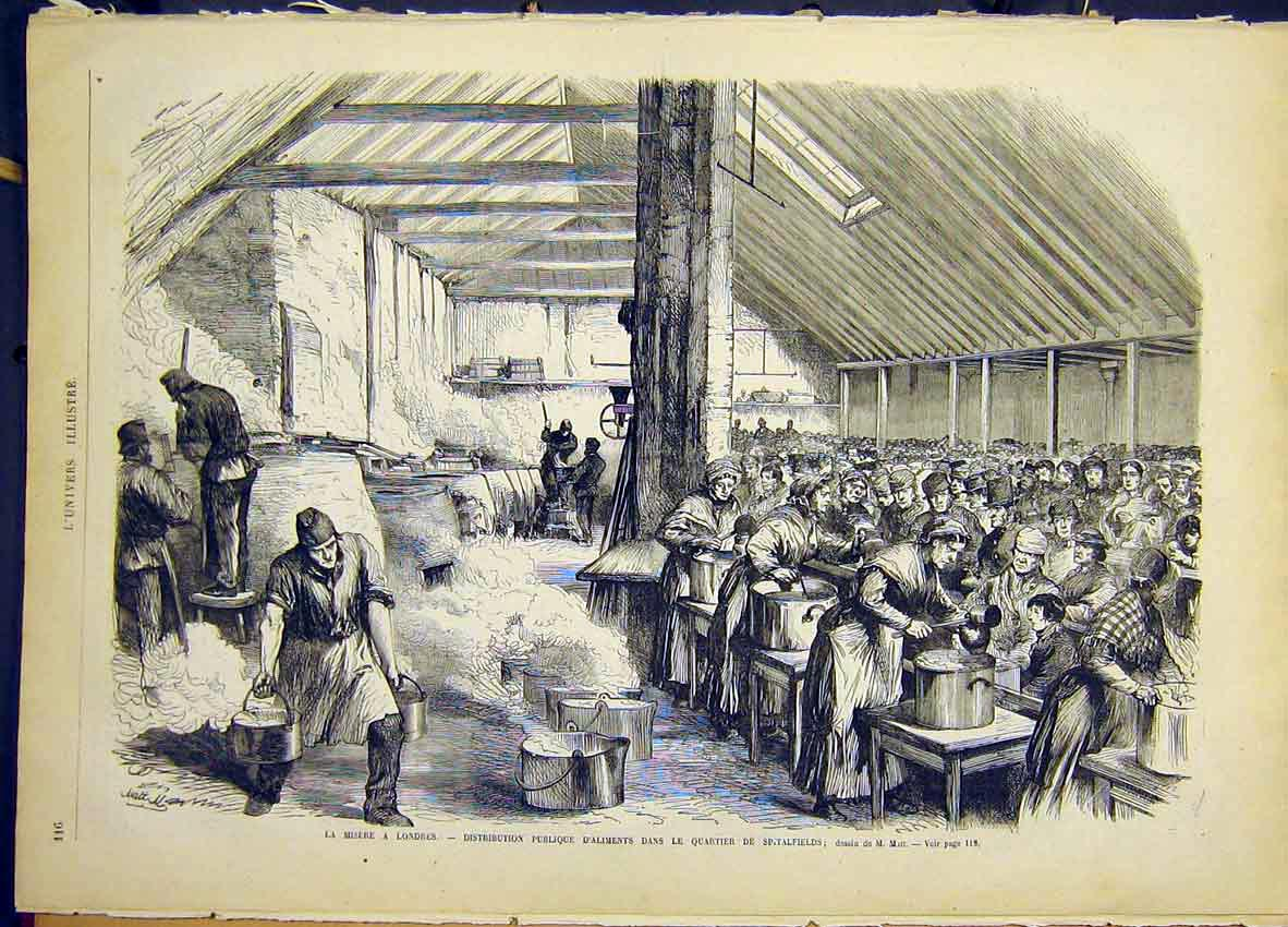 Print London Spitalfields Poor Food French 1868 16Lun0 Old Original