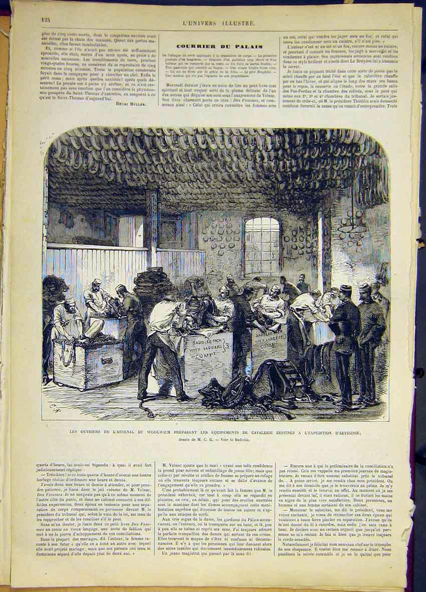 Print Arsenal Woolwich Cavalry Abyssinia French 1868 24Lun0 Old Original