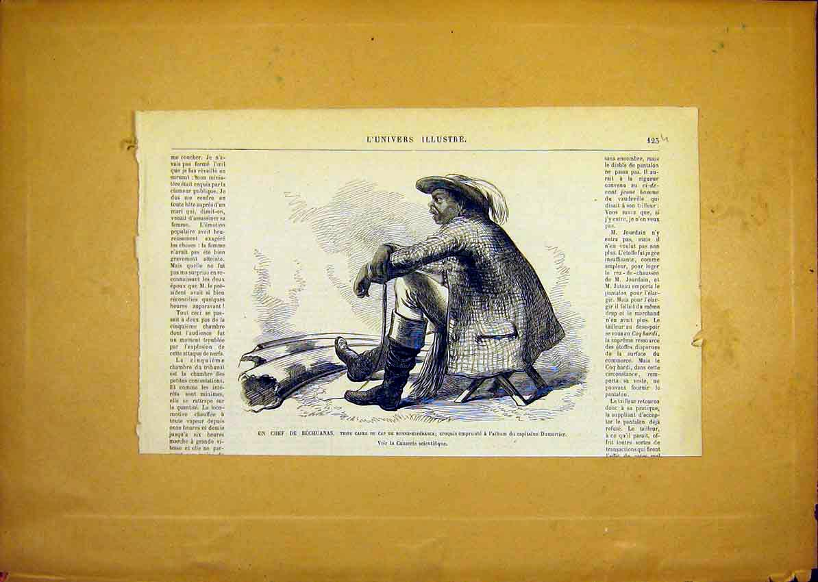 Print Chief Bechuana Tribe Africa French 1868 25Ulun0 Old Original