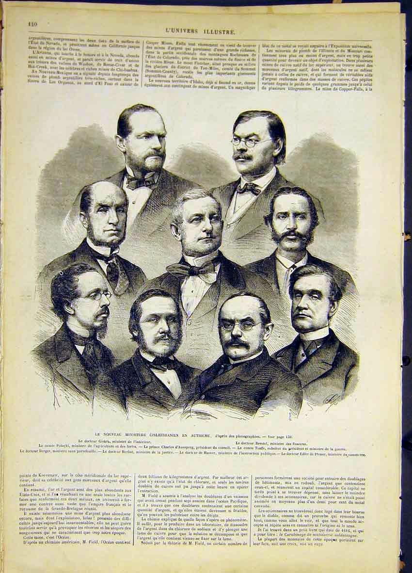 Print Austrian Ministers Group Portrait French 1868 40Lun0 Old Original