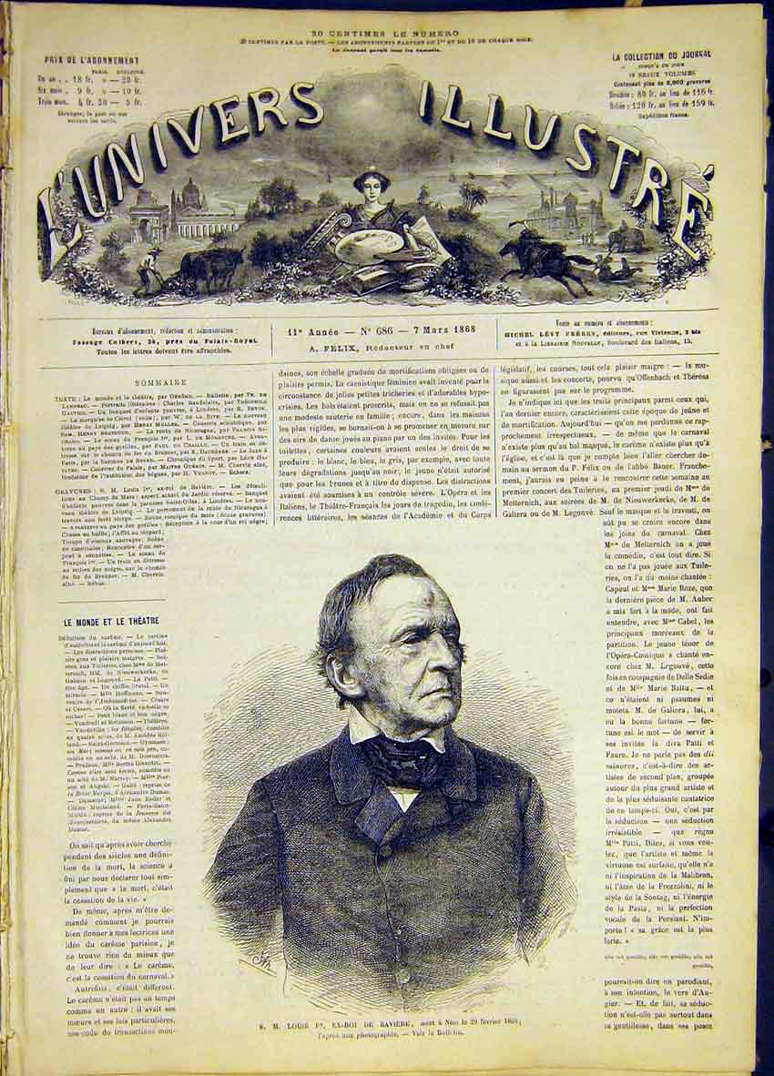 Print Portrait Louis Ex-King Bavaria French 1868 46Lun0 Old Original