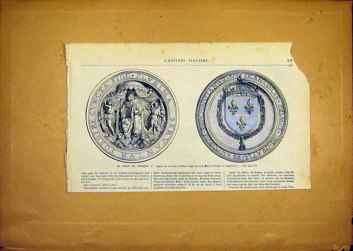 Print Medals Francis Alliance Medallion French 1868 57Ulun0 Old Original