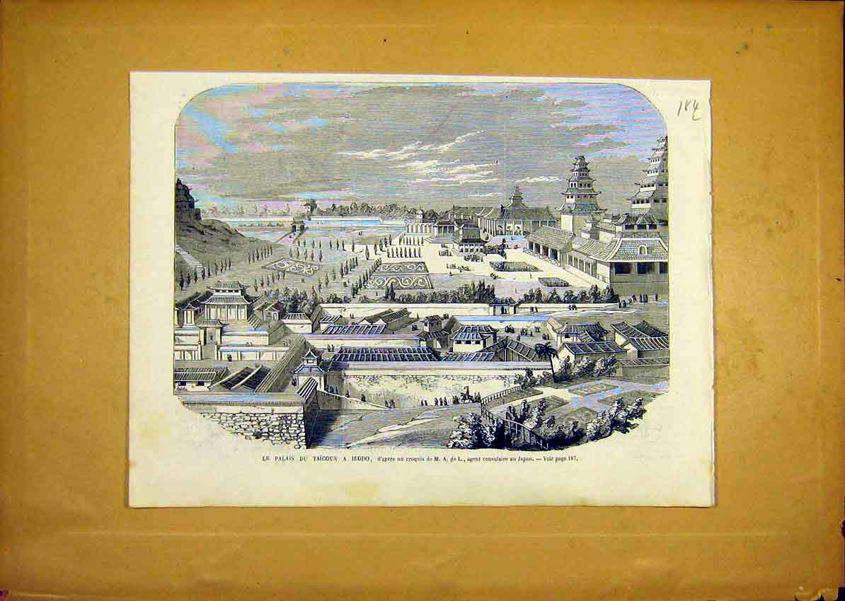 Print Palace Jeddo Japan Taicoun French 1868 84Llun0 Old Original