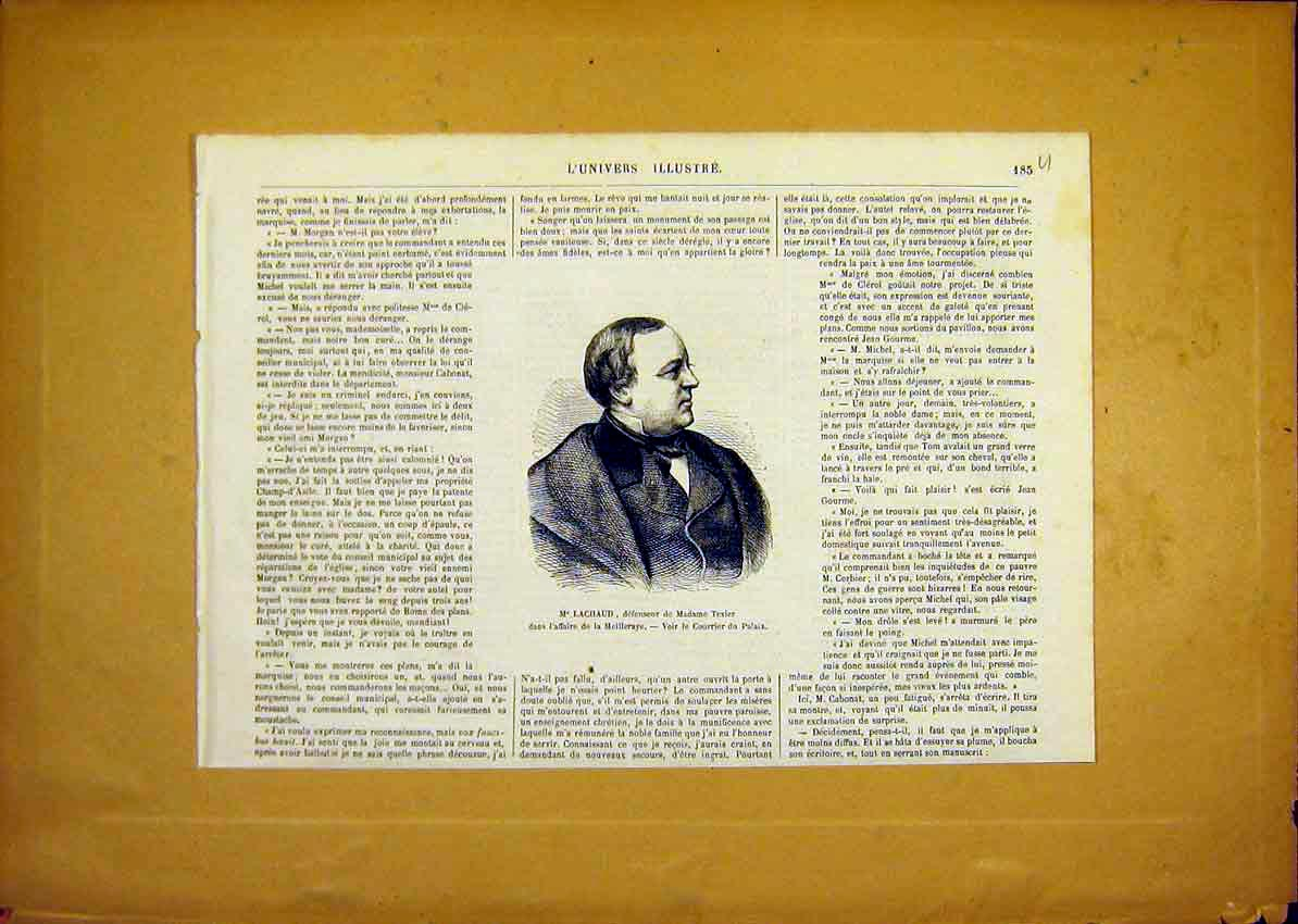 Print Portrait Lachaud Texier Meilleraye French 1868 85Ulun0 Old Original