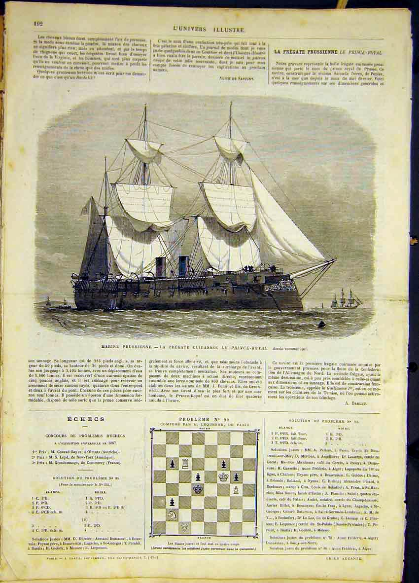 Print Prussian Navy Frigate Prince-Royal French 1868 92Lun0 Old Original