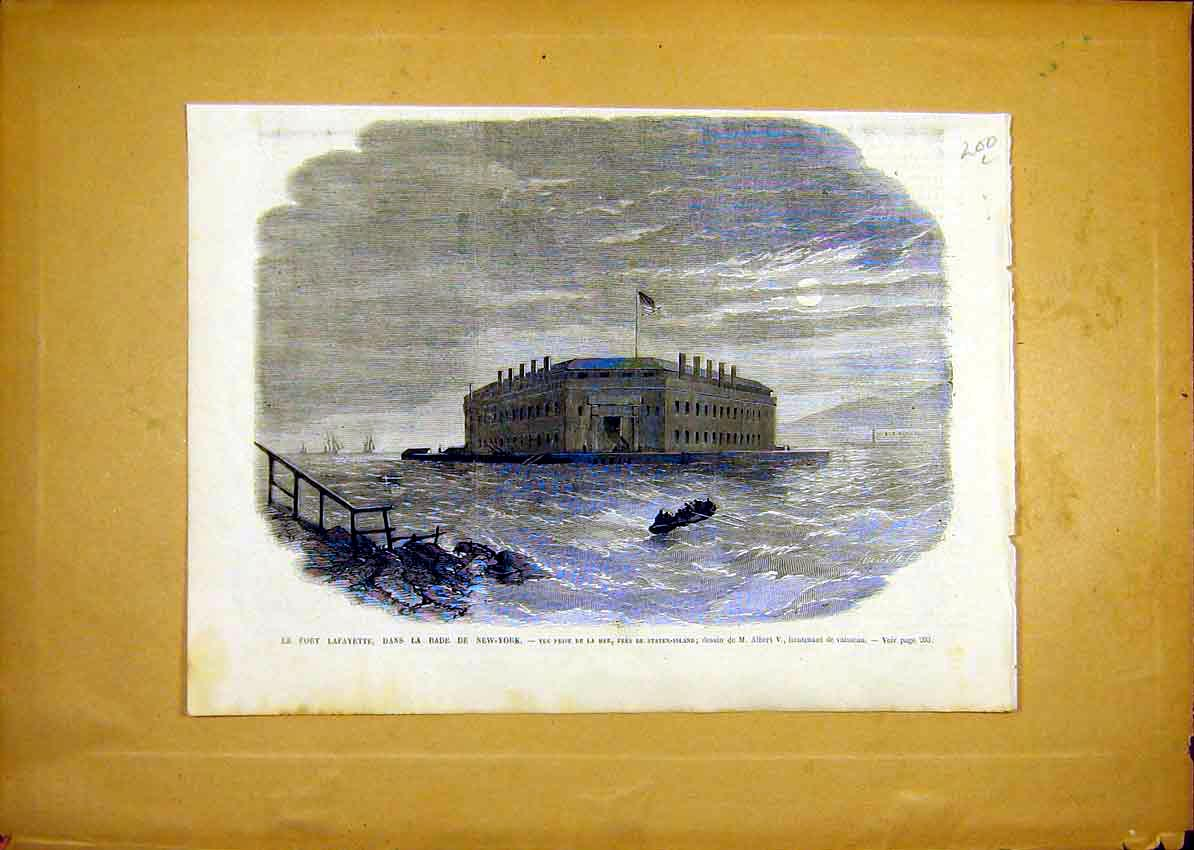 Print Fort Lafayette New York Usa Staten French 1868 00Llun0 Old Original